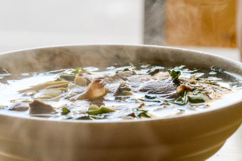 Anhui bengbu beef fan soup. Only ten rmb. Feed an adult. There are complimentary side dishes stock photo