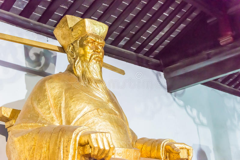 ANHUI, CHINA - Nov 25 2015: Bao Zheng Statue at Baogong Temple. A famous historic site in Hefei, Anhui, China stock photography
