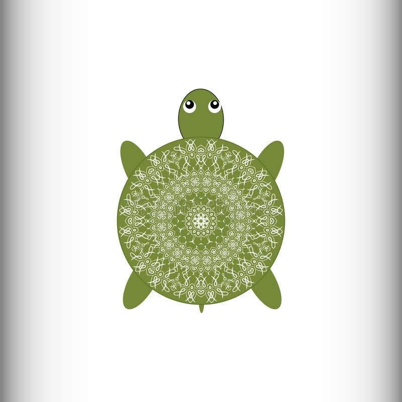 anhydrous Sköldpadda bakgrund som tecknar den blom- gräsvektorn stock illustrationer