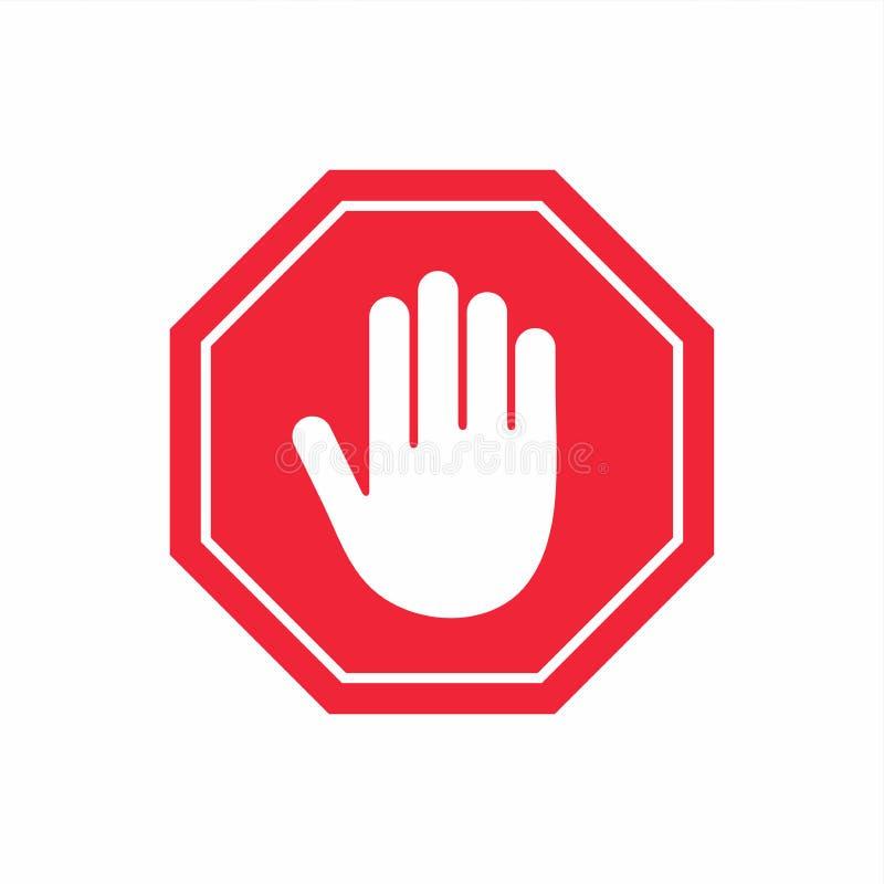 ani śladu wejścia PRZERWY ręki gest w czerwonym ośmioboku ilustracji