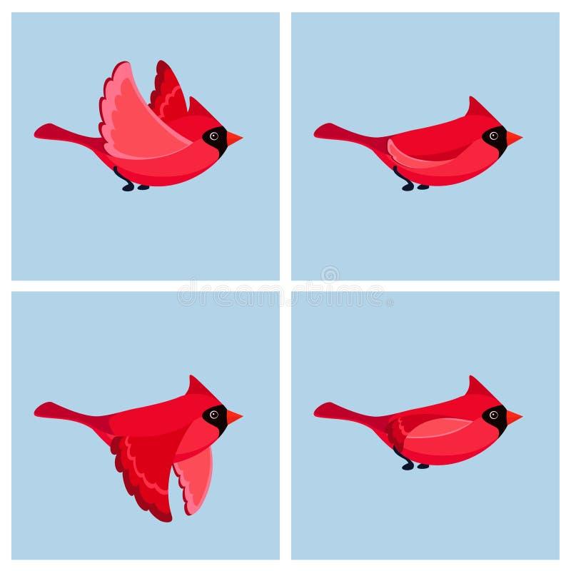 Cartoon flying Cardinal Bird male animation sprite sheet stock illustration