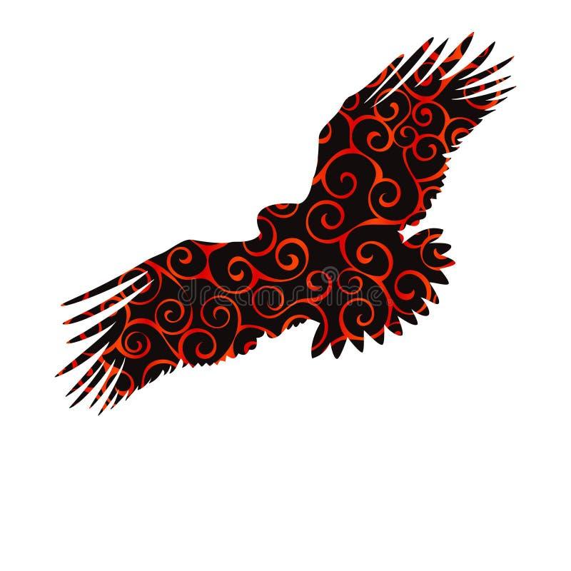 Ani för kontur för färg för modell för spiral för fågel för guld- örn för Eagle hök vektor illustrationer