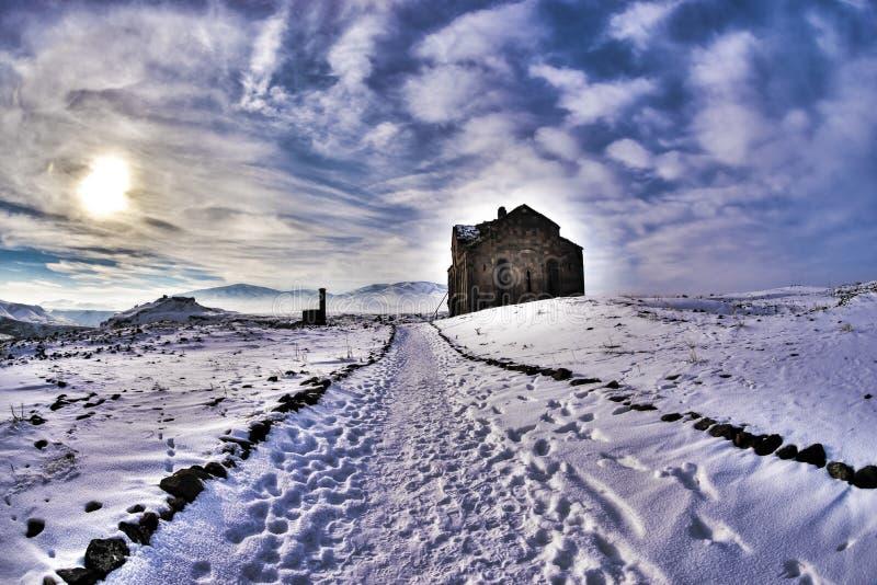 Ani Ruins Winter HDR (Seizoen 4) royalty-vrije stock foto's