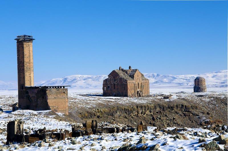 Ani Ruins Winter-Panorama (Seizoen 4) royalty-vrije stock fotografie