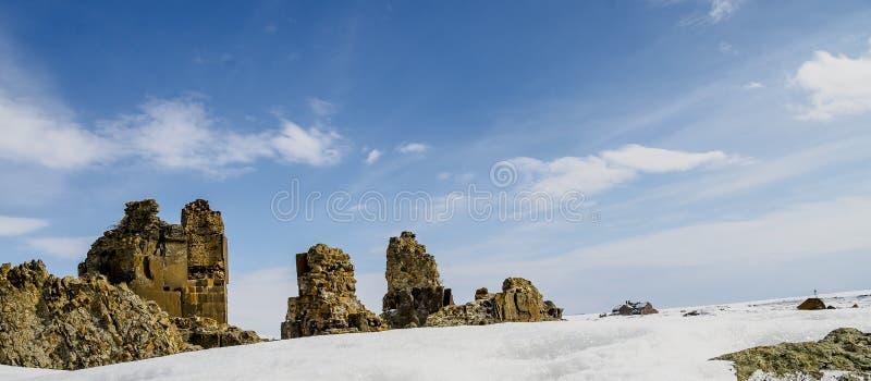 Ani Ruins Winter (4 Season Ani). Ani ruins winter blue sky royalty free stock image