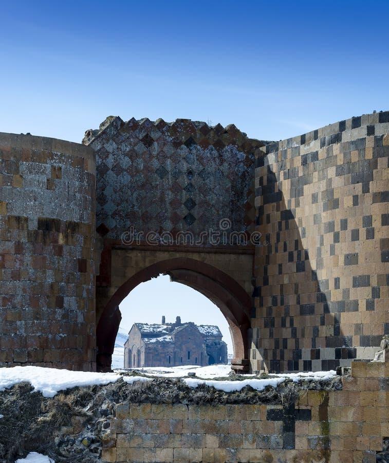 Ani Ruins Winter (4 Seizoen Ani) stock afbeelding