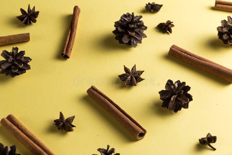 Anice di stelle, semi, cinnamons nella ricetta del cocktail fotografia stock libera da diritti