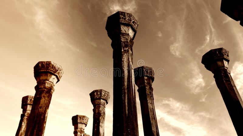 Anicientsteen Pillers van Medirigiriya Vatadageya, Sri Lanka royalty-vrije stock foto
