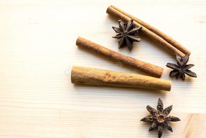 Anijsplant en kaneel op de witte achtergrond Kruiden voor koffie, hete thee, overwogen wijn, stempel Exemplaar ruimte, leeg malpl royalty-vrije stock afbeeldingen