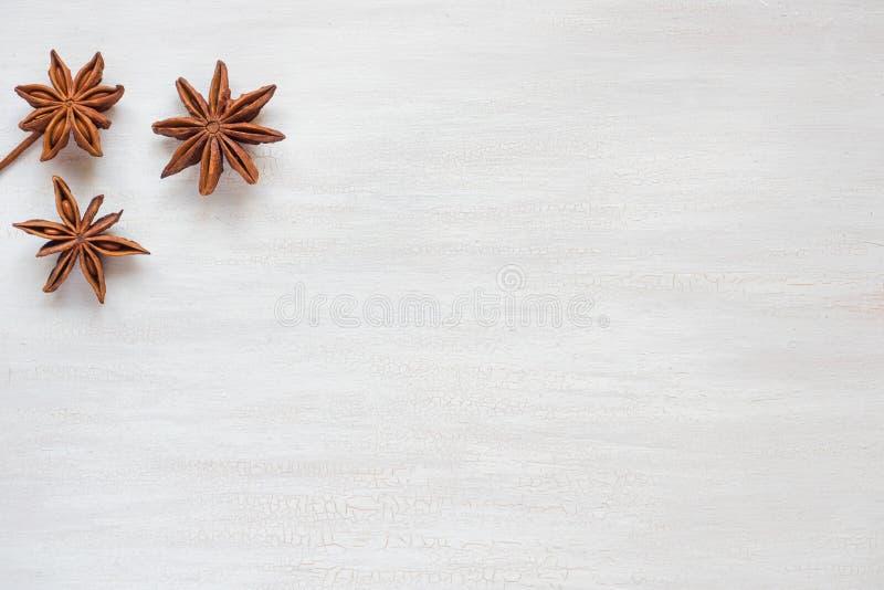 Anijsplantsterren op een lichte achtergrond De geurige anijsplant van de kruidenster C royalty-vrije stock afbeelding