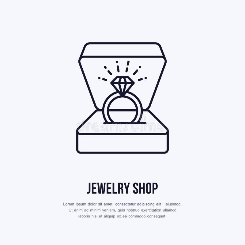 Anillo brillante brillante en el ejemplo de la caja de regalo Línea plana icono, logotipo de la joyería de la tienda de joyería J ilustración del vector