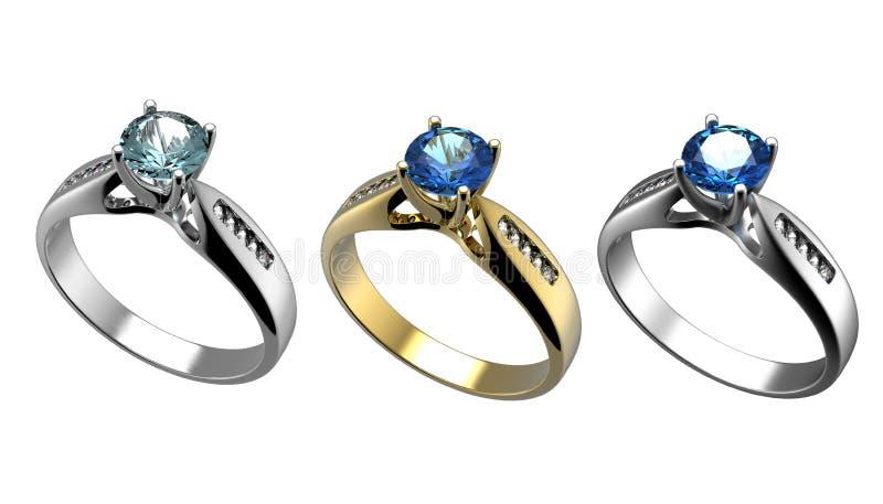 Anillo con el diamante aislado. Topaz azul suizo. aquamarine. Grandi foto de archivo
