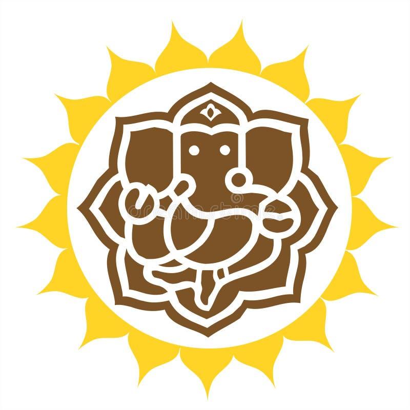 Anillo coronado In de señor Ganesha ilustración del vector