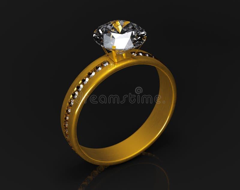 Anillo de bodas de oro con los diamantes stock de ilustración