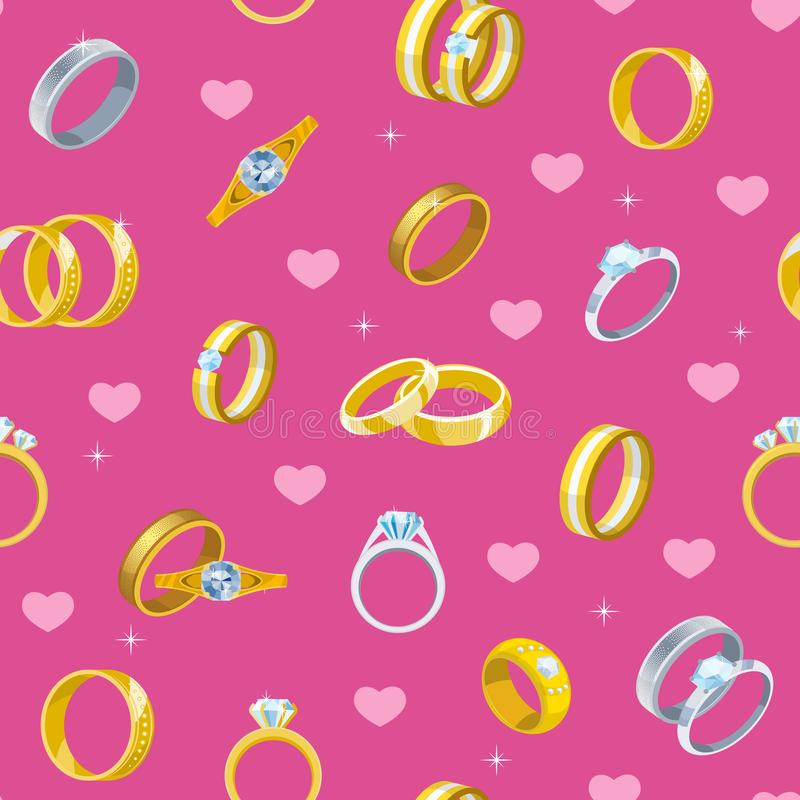 Anillo de bodas el oro del símbolo del compromiso que la joyería de plata para el matrimonio de la oferta se casa la muestra uste ilustración del vector