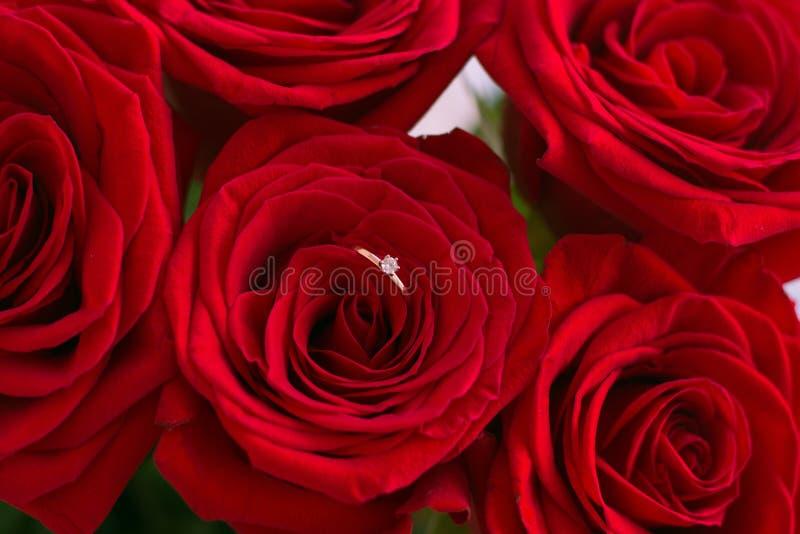 Anillo de bodas en el ramo de rosas rojas imágenes de archivo libres de regalías