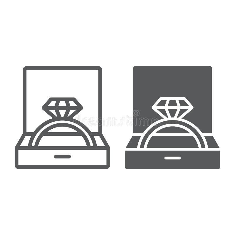 Anillo de bodas en línea de la caja e icono del glyph, joyería y accesorio, caja de regalo con la muestra del anillo, gráficos de libre illustration