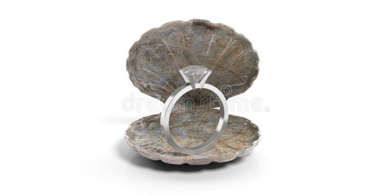 Anillo de bodas en una cáscara de ostra aislada en el fondo blanco ilustración 3D stock de ilustración