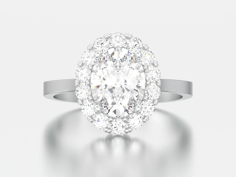 anillo de bodas oval del compromiso del diamante del halo de la plata del ejemplo 3D libre illustration