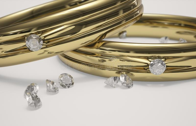Anillo de bodas y diamantes de oro libre illustration