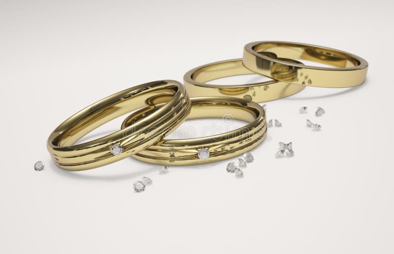 Anillo de bodas y diamantes de oro ilustración del vector