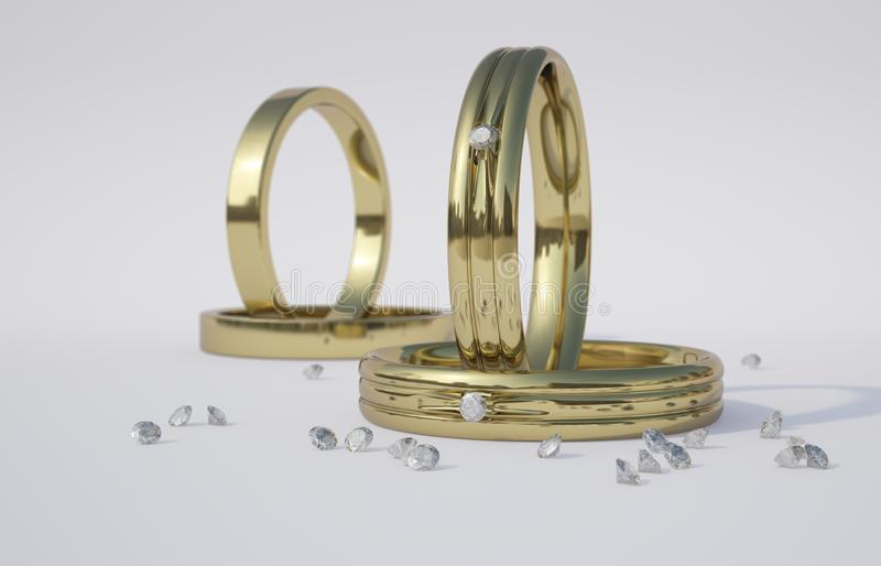 Anillo de bodas y diamantes de oro libre illustration