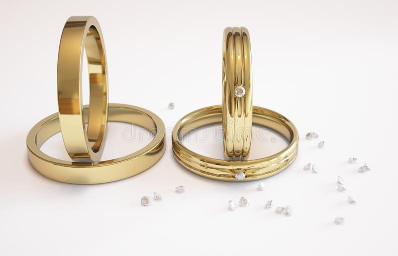 Anillo de bodas y diamantes de oro stock de ilustración
