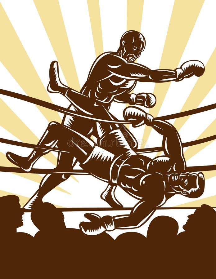 Anillo de boxeo de la maravilla del boxeador ilustración del vector