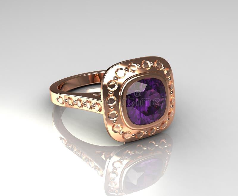 anillo de compromiso color de rosa de la amatista del oro 18k ilustración del vector
