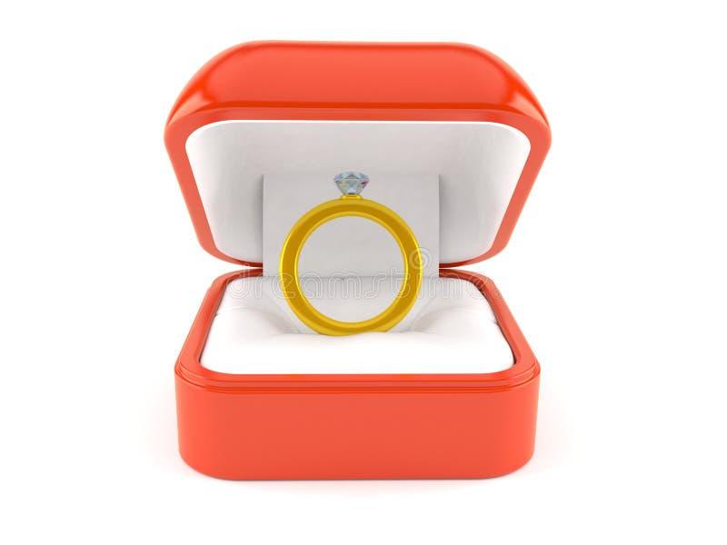 Anillo de compromiso dentro de la caja del anillo de compromiso libre illustration