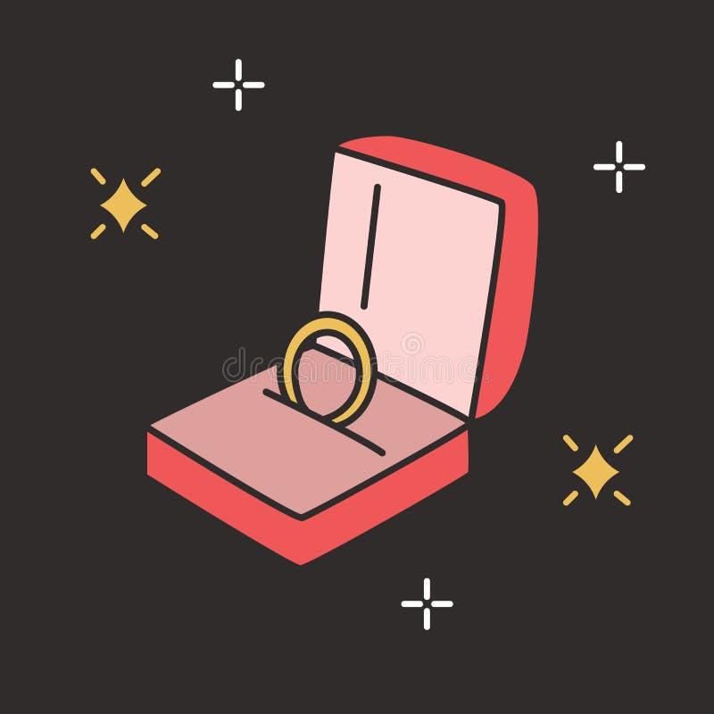 Anillo de compromiso de oro en caja abierta en fondo negro Joyería elegante o accesorio hermoso para la propuesta de matrimonio y stock de ilustración