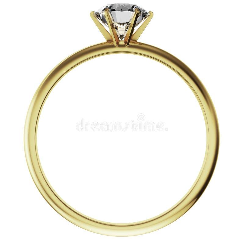 Anillo de diamante del oro stock de ilustración