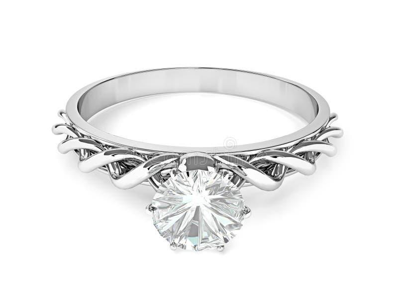 Anillo de diamante en un fondo blanco ilustración del vector