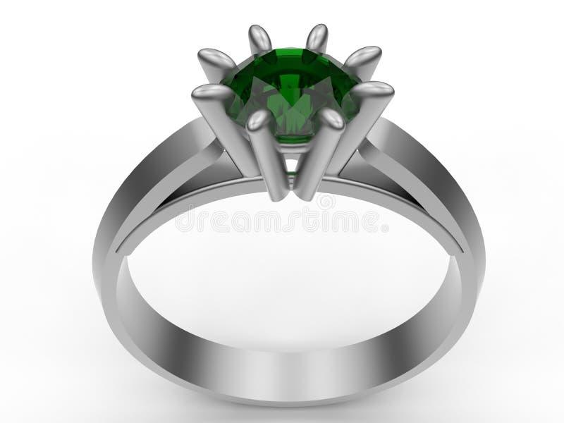 Anillo de diamante esmeralda ilustración del vector