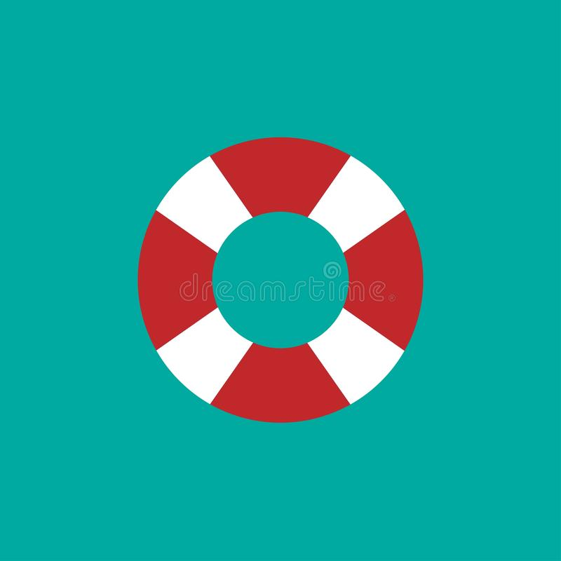 Anillo de goma que nada en fondo azul Salvavidas flotante, juguete para la playa o nave stock de ilustración