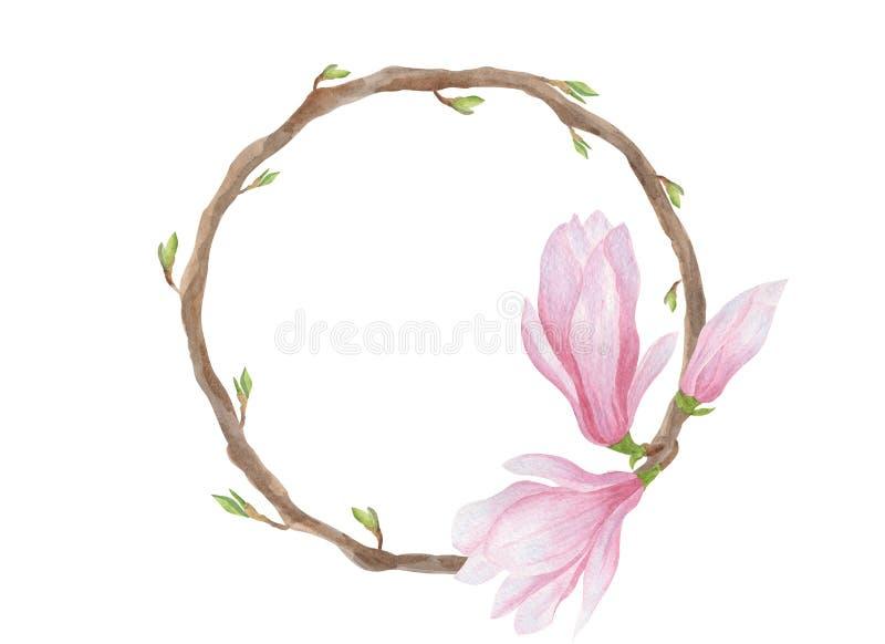 Anillo de la guirnalda de la magnolia de la acuarela con las hojas ilustración del vector