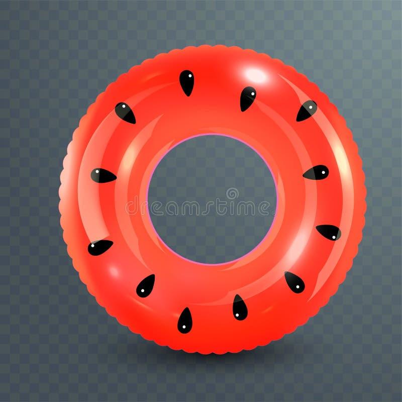 Anillo de la nadada Juguete de goma inflable Ejemplo realista del verano Diseño de la sandía Círculo de la natación de la visión  stock de ilustración