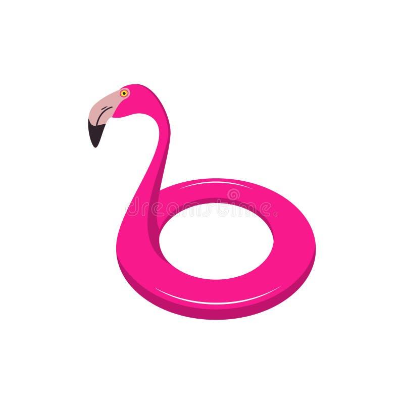 Anillo de la natación en forma del flamenco Flotador inflable del flamenco rosado Vector ilustración del vector