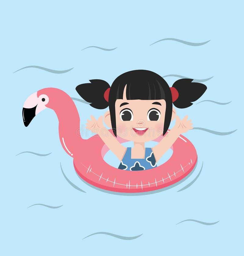Anillo de la piscina del flotador del flamenco del verano de la niña stock de ilustración
