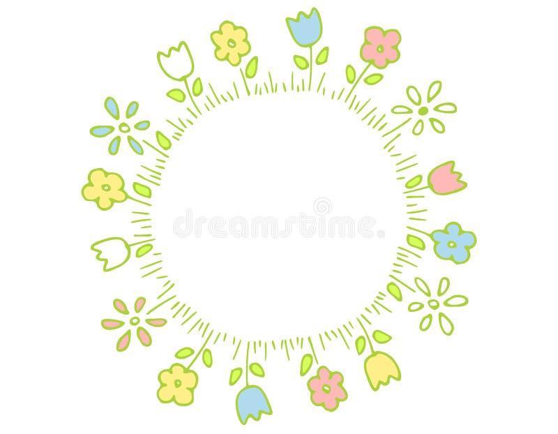 Anillo de las flores del resorte en colores en colores pastel stock de ilustración