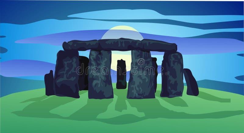 Anillo de Neolithing de piedras derechas stock de ilustración
