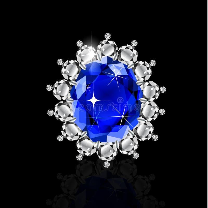 Anillo de oro con el rubí y los diamantes ilustración del vector