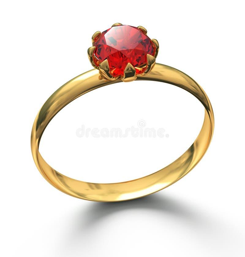 Anillo de oro con la piedra preciosa de rubíes en blanco stock de ilustración