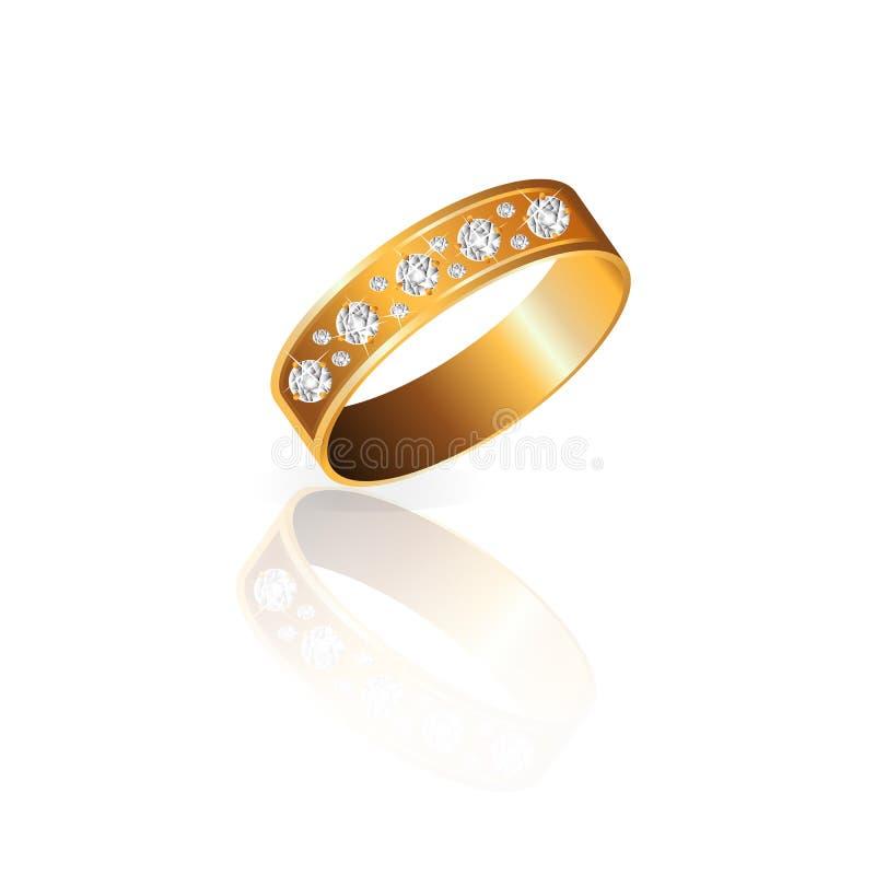 Anillo de oro con los diamantes con vector de los diamantes ilustración del vector