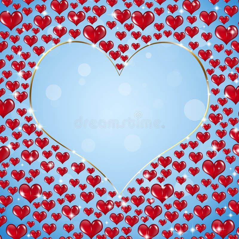 Anillo de oro de la forma del corazón ilustración del vector