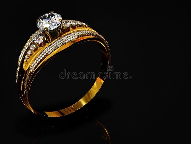 Anillo de oro del compromiso con la gema de la joyería foto de archivo