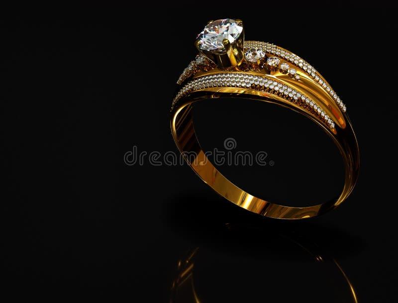 Anillo de oro del compromiso con la gema de la joyería fotografía de archivo