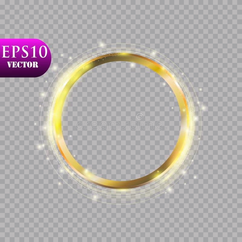 Anillo de oro de lujo abstracto en fondo transparente Efecto luminoso del proyector ligero de los círculos del vector Color oro r foto de archivo libre de regalías