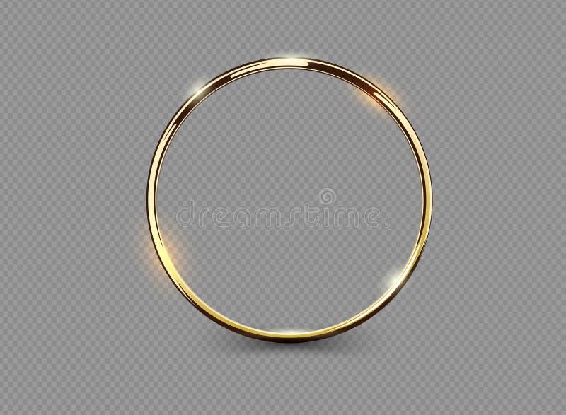 Anillo de oro de lujo abstracto en fondo transparente Efecto luminoso del proyector ligero de los círculos del vector Marco redon libre illustration