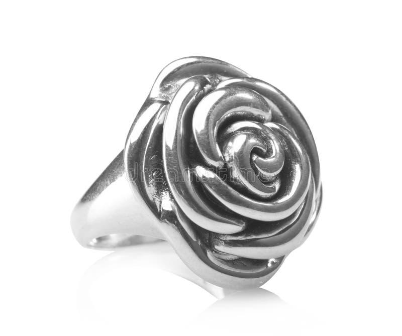 Anillo de Rose y pendiente de plata foto de archivo libre de regalías